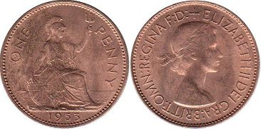 coin UK coin 1 penny 1953