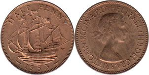 coin UK coin 1/2 penny 1953