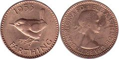 coin UK coin farthing 1953