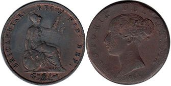 coin UK old coin half penny 1854