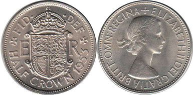 coin UK coin 1/2 crown 1953