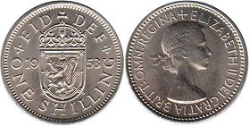 coin UK coin 1 shilling 1953