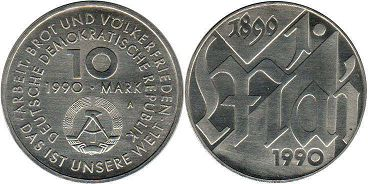 coin East Germany 10 mark 1990