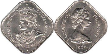 coin Guernsey 10 shillings 1966