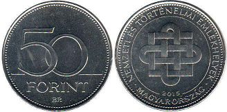 coin Hungary 50 forint 2015