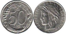 coin Italy 50 lire 1996