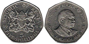 coin Kenya 5 shillings 1994