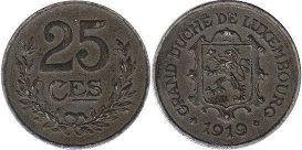 coin Luxembourg 25 centimes 1919