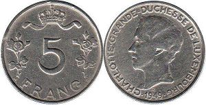 coin Luxembourg 5 francs 1949