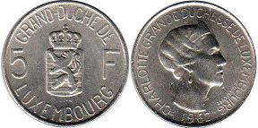 coin Luxembourg 5 francs 1962
