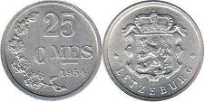 coin Luxembourg 25 centimes 1954