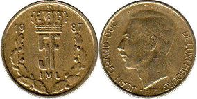 coin Luxembourg 5 francs 1987