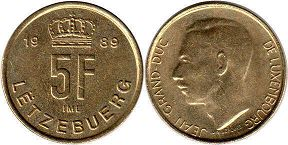 coin Luxembourg 5 francs 1989