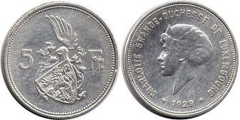 coin Luxembourg 5 francs 1929