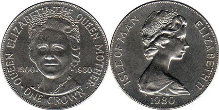 coin Isle of Man crown 1980