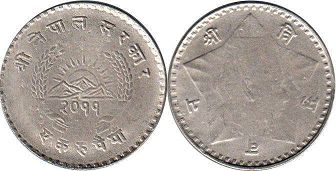 coin Nepal 1 rupee 1954