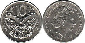 coin New Zealand 10 cents 2000