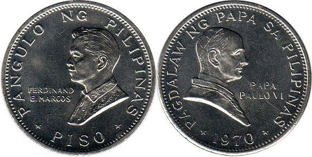 coin Philippines 1 piso 1970