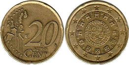 coin Portugal 20 euro cent  2002