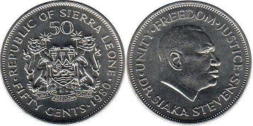 coin Sierra Leone 50 cents 1980