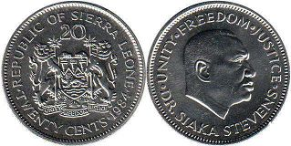 coin Sierra Leone 20 cents 1984