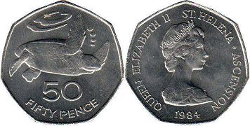 coin Saint Helena and Ascension 50 pence 1984