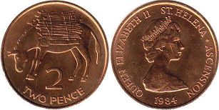 coin Saint Helena and Ascension 2 pence 1984
