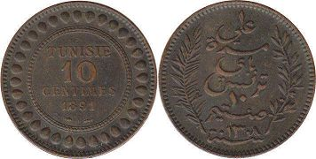 piece Tunisia 10 centimes 1891