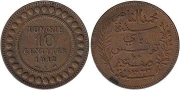 piece Tunisia 10 centimes 1912