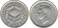 old coin South Africa 6 pence 1938
