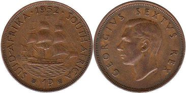 old coin South Africa 1 penny 1952