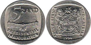 coin South Africa 5 rand 1994
