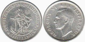 old coin South Africa 1 shilling 1942
