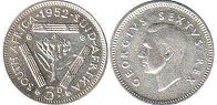 old coin South Africa 3 pence 1952