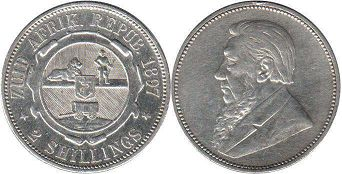 old coin South Africa 2 shillings 1897