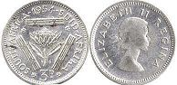 old coin South Africa 3 pence 1954