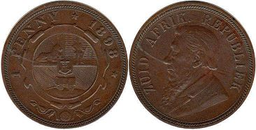 old coin South Africa 1 penny 1898