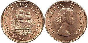 old coin South Africa 1/2 penny 1959