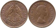 old coin South Africa 1/4 penny 1955