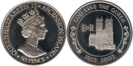 coin Ascension Island 50 pence 2002