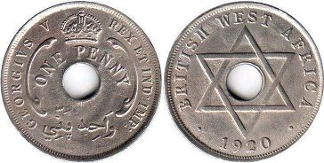 coin ONE PENNY BRITHSH WEST AFRICA GEORGIVS V