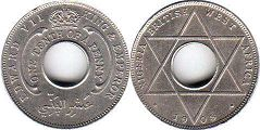 coin ONE TENTH OF A PENNY NIGERIA BRITHSH WEST AFRICA EDWARD VII