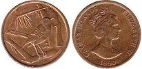 coin Cayman Islands 1 cent 1990