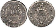 coin Costa Rica 10 centimos 1972