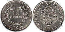 coin Costa Rica 10 centimos 1976