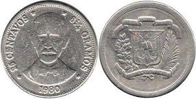 coin Dominican Republic 25 centavos 1980