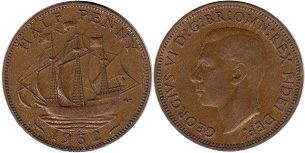 coin UK coin 1/2 penny 1952
