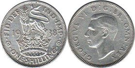 coin UK coin 1 shilling 1938