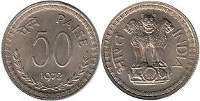 coin India 50 paise 1972