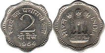coin India 2 paise 1964